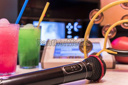 black microphone in karaoke club with