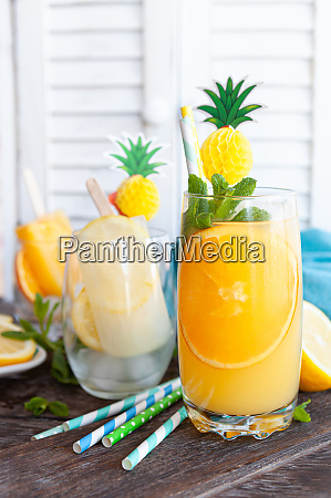 fresh cocktail with orange