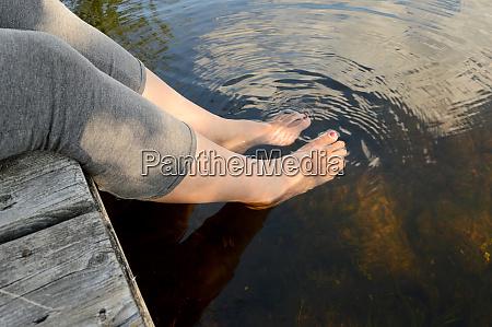 splashing feet at the docks