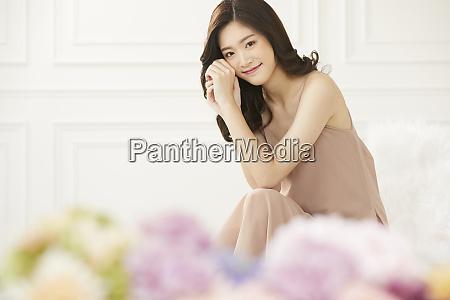 female lifestyle beige model