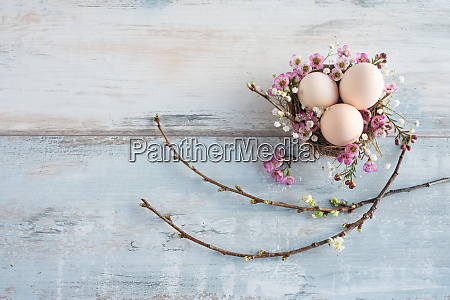 easter still life on vintage planks