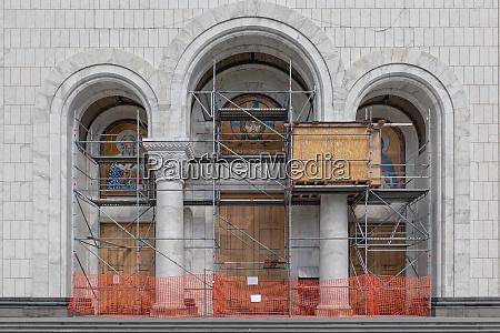 church mural scaffolding