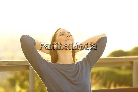 relaxed woman resting sitting on a