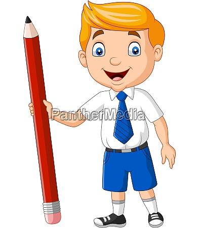cartoon school boy holding a pencil