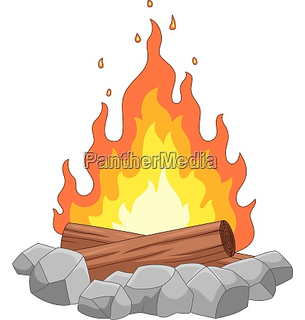 campfire with stones and wooden