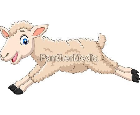 cartoon happy lamb jumping on white