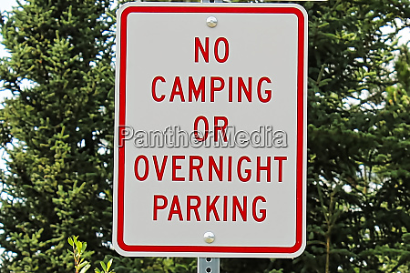 a no camping of overnight parking