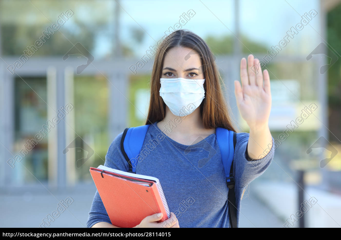 student, with, a, mask, gesturing, stop - 28114015