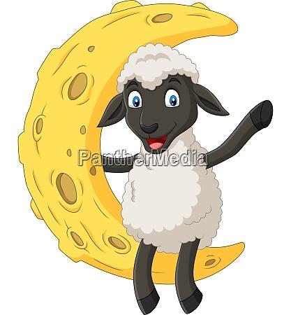 cartoon cute sheep sitting on the