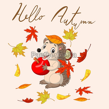 hello autumn with leaves and cute