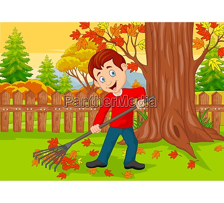 cartoon male cleaner sweeping autumn leaves