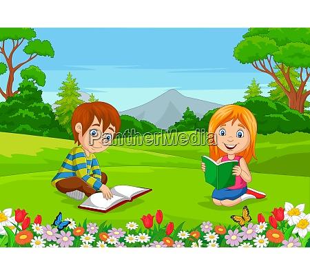 cartoon boy and girl reading books