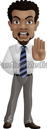 cartoon businessman showing stop gesture
