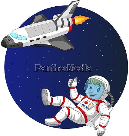 cartoon boy astronaut with space shuttle