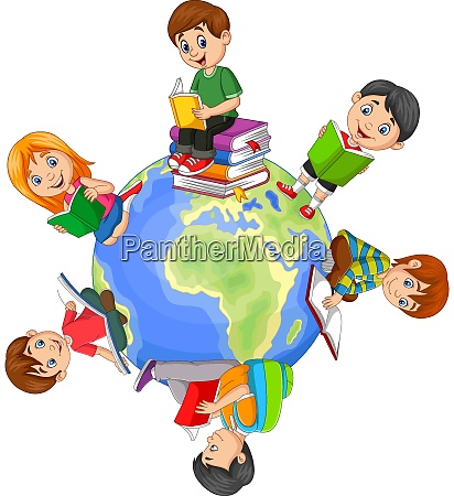 children reading book around the world