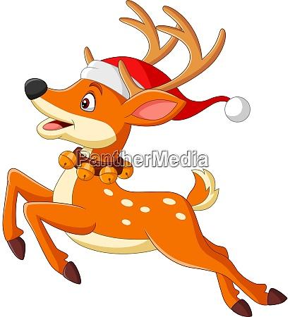 cartoon deer in a santa hat