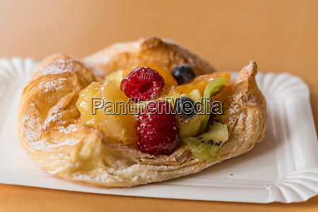 tasty danish pastries with fruits
