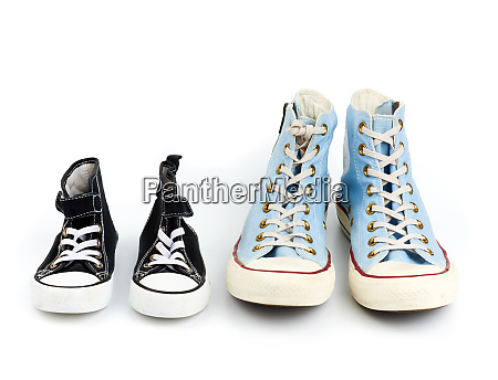 two pairs of textile sneakers with