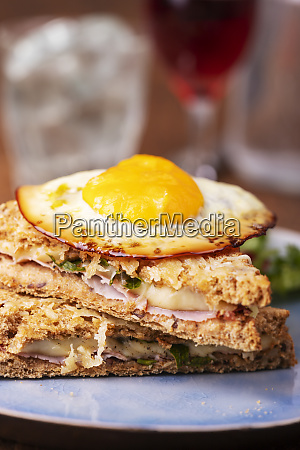 closeup of a french croque madame