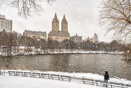 snowfall by the lake in central