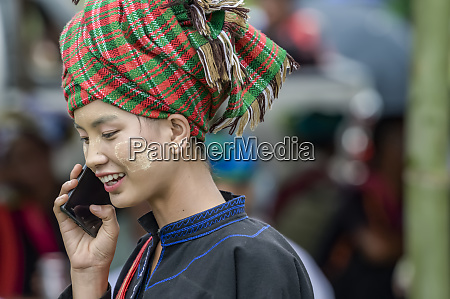 modern burmese young woman on smart