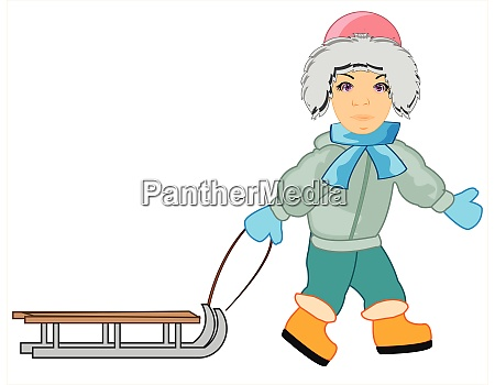 teenager with sled on white background