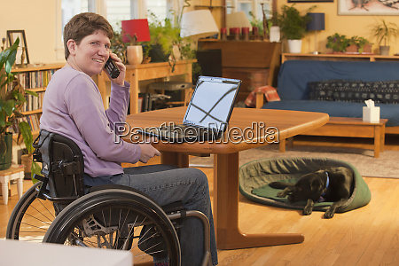 disabled person in a wheelchair using