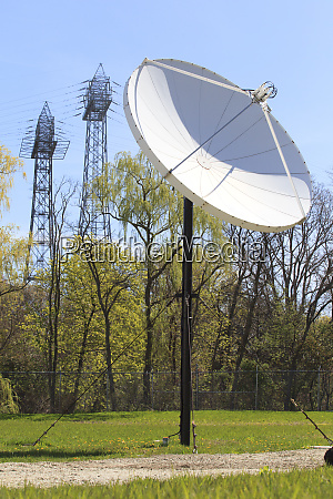 satellite dish with electrical power transmission