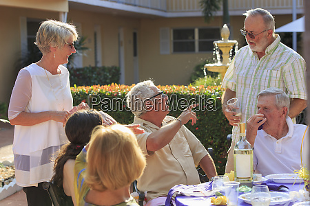 seniors at an outdoor party