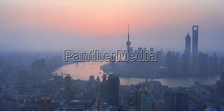 high view of shanghai at dawn