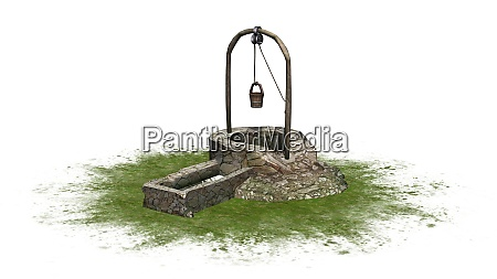 old medieval stone well with water