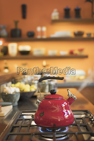 red tea kettle steaming on stovetop