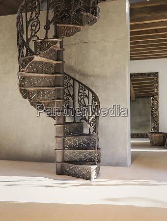 home showcase interior spiral iron staircase