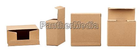 open brown square cardboard box for