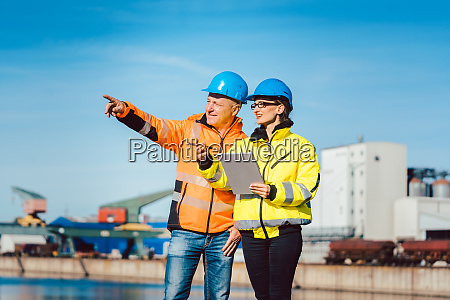 workers in a commercial river port