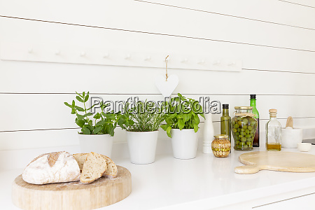 homemade bread herbs and olive oils