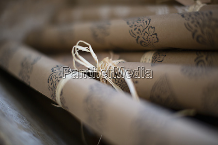 close up rolled stamped craft wrapping