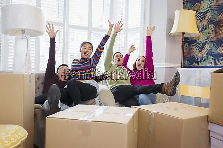 portrait playful friends taking a break