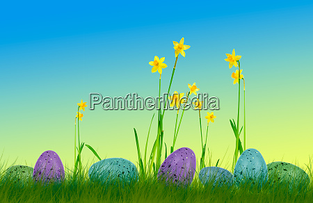 colorful easter eggs on grass with