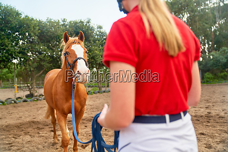 teenage girl training horse in paddock
