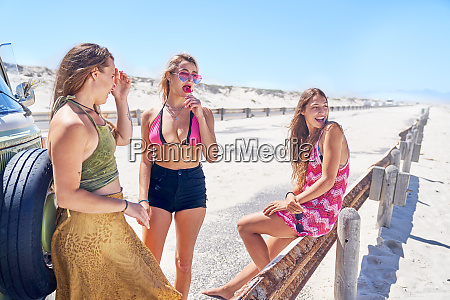 young women friends relaxing at sunny