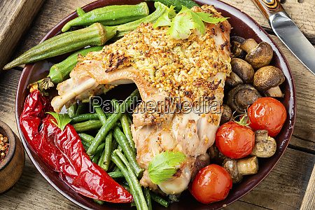 roasted turkey with vegetables