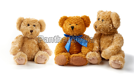 brown curly teddy bears sit on