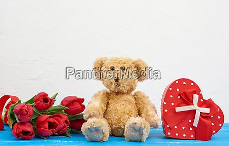 cute brown teddy bear sits on