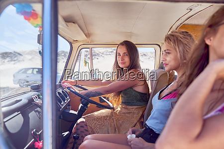 confident, young, woman, driving, van - 28130423