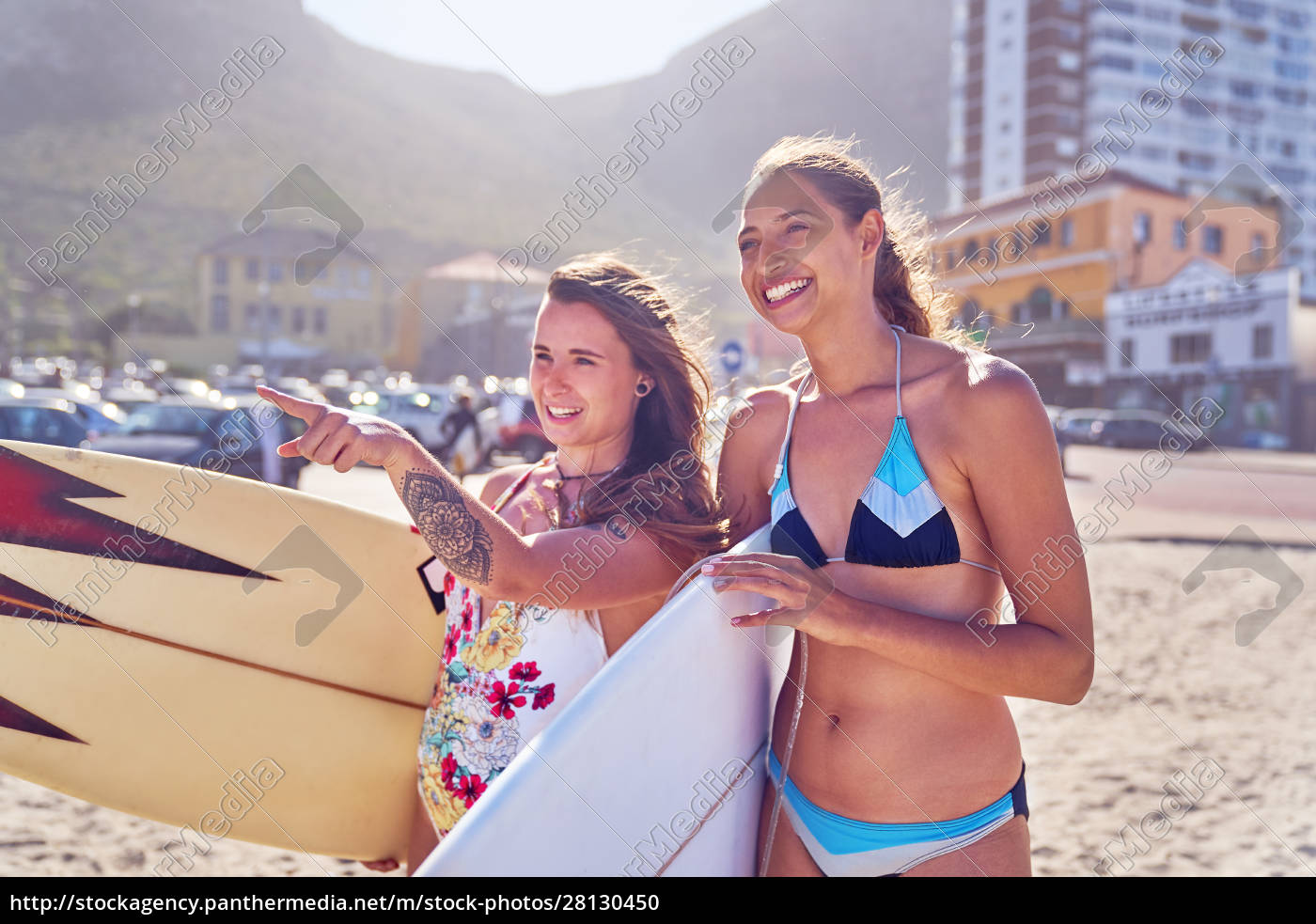 happy, young, women, female, surfers, with - 28130450