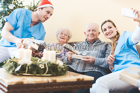 christmas presents being given to seniors