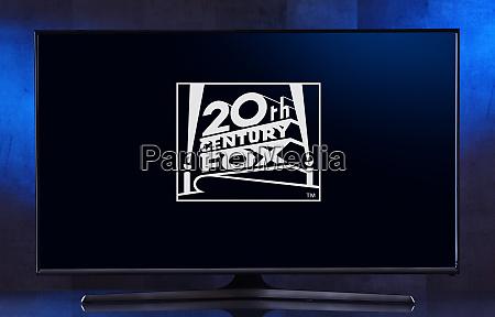 flat screen tv set displaying logo