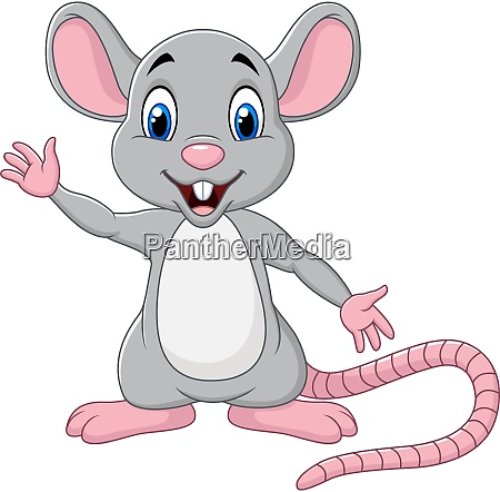 cute mouse cartoon waving hand