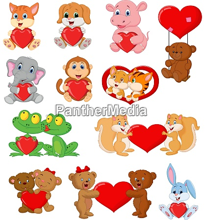 set of cute animals with red